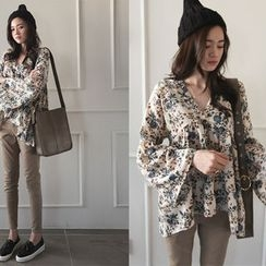NIPONJJUYA - V-Neck Flower Patterned Blouse