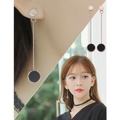 soo n soo - Disc Chain Drop Earrings