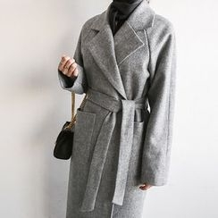 NANING9 - Wool Blend Maxi Coat with Sash