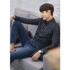 GERIO - Mandarin-Collar Stripe Shirt