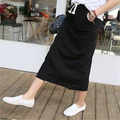 PIPPIN - Drawstring-Waist Pocket-Detail Midi Skirt