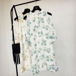 Cotton Candy - Printed Elbow-Sleeve Chiffon Dress