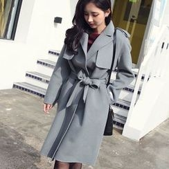 Seoul Fashion - Capelet Wool Blend Coat with Sash
