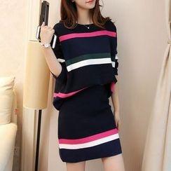 Ageha - Set : Stripe Knit Top + Skirt