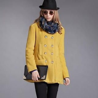 Moonbasa - Epaulette-Accent Double-Breasted Tweed Coat