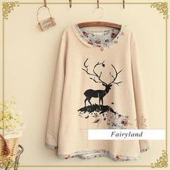 Fairyland - Deer Print Piped T-Shirt