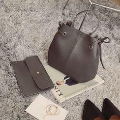 Diamante - Set of 2: Faux Leather Bucket Bag = Pouch