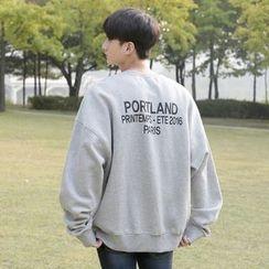 Seoul Homme - Brushed-Fleece Lined Lettering Sweatshirt