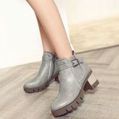 Pastel Pairs - Buckled Chunky Heel Ankle Boots