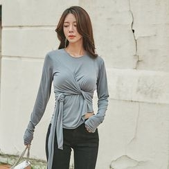 UUZONE - Long-Sleeve Knot-Front T-Shirt