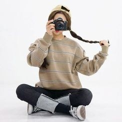 Seoul Homme - Couple Crew-Neck Striped Sweatshirt