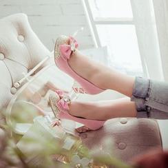 Blingon - 亮片蝴蝶结高跟鞋