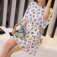 Adima - Cartoon Girl Print Chiffon Dress