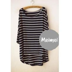 Meimei - 3/4-Sleeve Striped T-Shirt