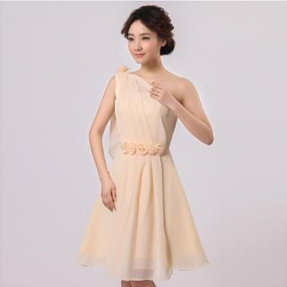 Annier - One-Shoulder Rosette Party Dress