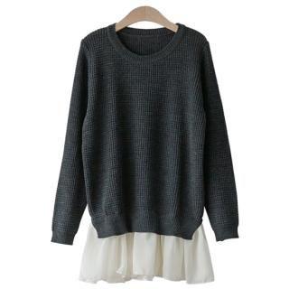 PEPER - Chiffon Peplum Hem Knit Sweater