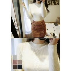 MyFiona - Crew-Neck Slim-Fit Cable-Knit Top
