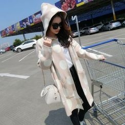 TIMI - Dotted Hooded Long Cardigan