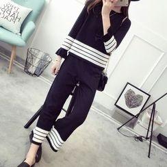 TIMI - Set: Striped Sweater + Knit Pants