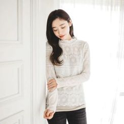 JUSTONE - Long Sleeve Frill-Neck Crochet-Lace Top