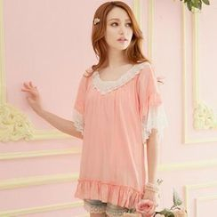 Tokyo Fashion - Short-Sleeve Lace-Trim Ruffled Top