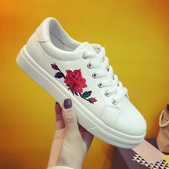 Shoeland - Floral Embroidered Sneakers