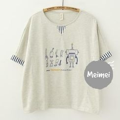 Meimei - Short-Sleeve Lettering Robot Embroidered T-Shirt