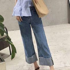 Glen Glam - Wide-leg Jeans