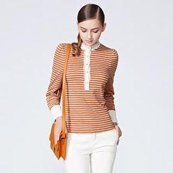 O.SA - Contrast-Trim Striped Henley