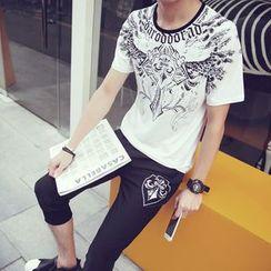 丹杰仕 - 套装: 印花T裇 + 运动短裤
