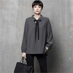 HALUMAYBE - Tie-Neck Plain Top