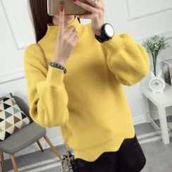 anzoveve - Scallop Hem Mock Neck Sweater