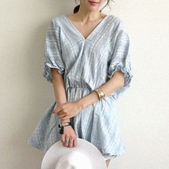 NANING9 - V-Neck Batwing-Sleeve Mini Dress