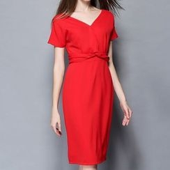 Merald - Short-Sleeve V-Neck Dress