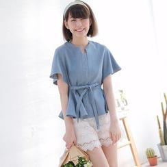 Tokyo Fashion - Short-Sleeve Tie-Waist Denim Top