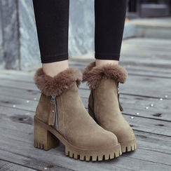 QQ Trend - Furry Trim Chunky Heel Ankle Boots