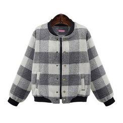 AGA - Woolen Check Baseball Jacket