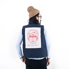 YIDESIMPLE - Printed-Back Puffer Vest