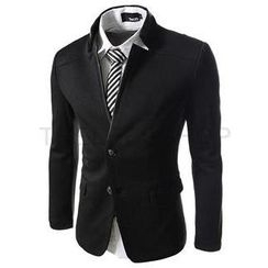 THELEESSHOP - Mandarin-Collar Two-Button Jacket