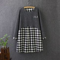 Blue Rose - Plaid Stripe Panel Long-Sleeve Dress