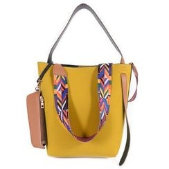 Nautilus Bags - Faux Leather Tote Bag with Patterned Strap