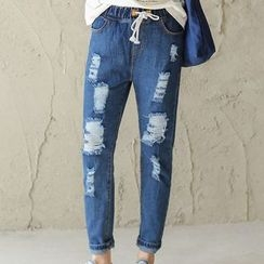 Iscat - Distressed Drawstring Straight-Cut Jeans