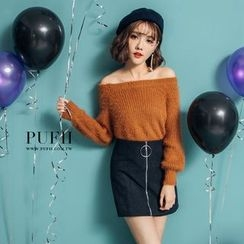 PUFII - Off-Shoulder Furry Knit Top