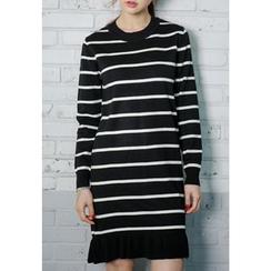 REDOPIN - Frilled-Hem Striped Knit Dress