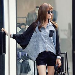 REDOPIN - Dolman-Sleeve Denim Shirt