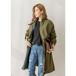 J-ANN - Funnel-Neck Zip-Up Long Parka