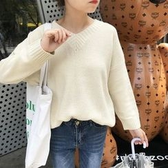 YUKISHU - V领长袖针织毛衣