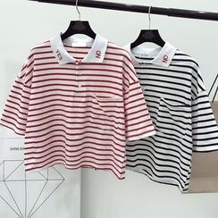 DIYI - Striped Cropped Short Sleeve Polo Shirt