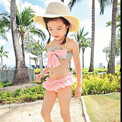 Moonrise Swimwear - Kids Set: Floral Tankini Top + Cover + Frilled Swimskirt