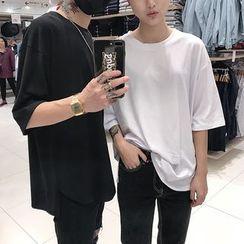 JUN.LEE - Couple Matching 3/4 Sleeve T-Shirt